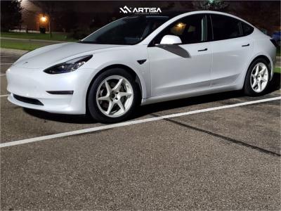2021 Tesla 3 - 18x8.5 35mm - Artisa ArtFormed Titan - Stock Suspension - 225/50R18