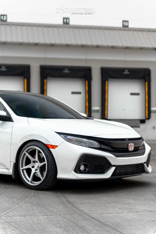 2 2018 Civic Honda Si Eibach Lowering Springs Artisa Artformed Titan Silver