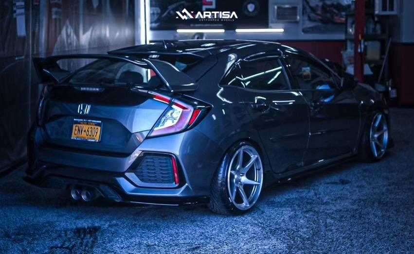 4 2016 Civic Honda Sport D2 Racing Coilovers Artisa Artformed Titan Silver